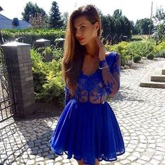 Cheap Trendy Prom Dresses Blue A-Line V-Neck Long Sleeves See Through Royal Blue Zipper Short Homecoming Dress Royal Blue Homecoming Dresses, Cheap Homecoming Dresses, Prom Dresses For Teens, Prom Dresses Long With Sleeves, Short Lace Dress, Prom Dresses With Sleeves, A Line Prom Dresses, Beautiful Prom Dresses, Blue Dresses