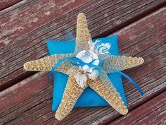 Aqua Beach Ring Bearer Starfish Ring Pillow Beach by OneFunDay, $28.00