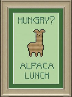 Hey, I found this really awesome Etsy listing at https://www.etsy.com/listing/107166606/hungry-alpaca-lunch-funny-llama-cross