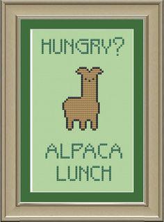 Hungry ... alpaca lunch --- funny llama cross-stitch pattern. $3.00, via Etsy.