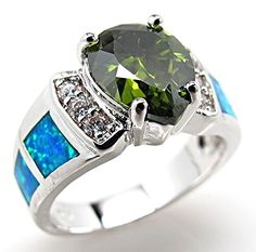 Size 7 Blue Fire Lab Opal Inlay Peridot 925 Sterling Silver Ring NWT