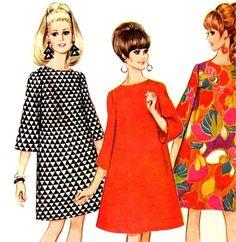 Trapecio 8766 vestido Mod McCall de Vintage 1960 con Bell mangas patrón de costura--busto 38