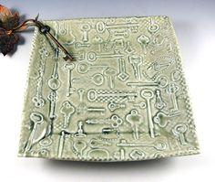 Pottery Plate Key Motif in Celedon Green 350 by Botanic2Ceramic