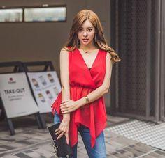 $16.60 Fashionable V Neck #HollowOut #Asymmetrical #RedBlouse
