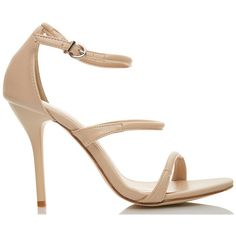 FIEBIGER Shoes ENCHANTE Nude Strappy High Heels (105 AUD) ❤ liked on Polyvore featuring shoes, sandals, thin strap sandals, strappy shoes, strap sandals, thin-strap sandals and strappy high heel sandals