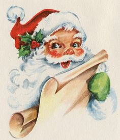 Vintage Santa Christmas card by Hawthorne Sommerfield