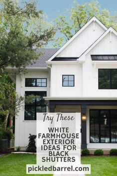 """""""Exteriors of a Modern Farmhouse Persuasion would make a great novel, wouldn't it? :)  Follow along our home tour to see some of the best ideas out there! #pickledbarrelblog #modernfarmhouse #farmhousetrends Farmhouse Exterior Colors, Modern Farmhouse Porch, Farmhouse Front, Black Window Trims, Black Shutters, Farm House Colors, Painted Front Doors, Joanna Gaines, Ideas"""