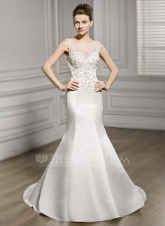 Trumpet/Mermaid Scoop Neck Chapel Train Beading Sequins Zipper Up Covered Button Regular Straps Sleeveless Church General Plus No Spring Summer Fall Ivory Satin Lace Wedding Dress