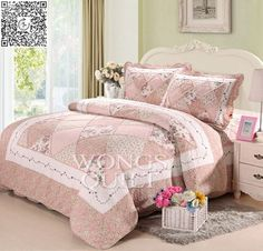 100% cotton 3-Pieces Pastoral Floral Printed Cotton Patchwork Quited Bedspread Sets queen size Machine Washable 16 style