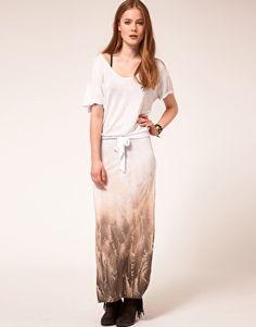 Religion Feather Gradient Floor Length Dress