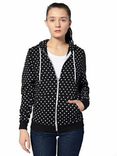 American Apparel Women's Unisex Polka Dot Flex Fleece Zip Hoodie Xx-small Black + White Polka Dot
