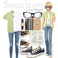 Sena Izumi [Love Stage!!] by anggieputeri on Polyvore featuring Frame Denim, Converse, Sekonda, Ray-Ban, H&M, Superdry, Sena, anime, lovestage and SenaIzumi