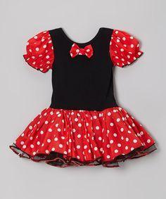 Red & Black Polka Dot Puff-Sleeve Dress - Infant, Toddler & Girls
