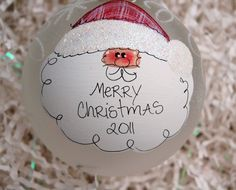 "Hand Painted Santa Ornament  Personalized Free 4"" diameter frosted glass via Etsy."