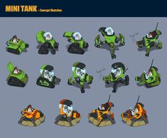 Minitank Bot by Moh Z. Mukhtar on ArtStation. Simple Character, Game Character Design, Character Sheet, Robot Concept Art, Game Concept, Unity Tutorials, Casual Art, Game Props, Sci Fi Characters