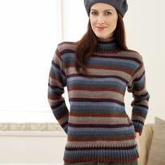 faf570504 Bernat Striped Turtleneck Sweater