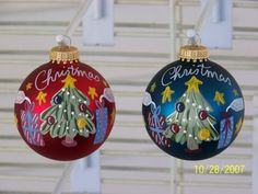Handpainted Christmas Tree Ornament by BonnieRobbins on Etsy, $8.00