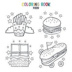 Cut and glue. Colouring Pages, Food Coloring, Coloring Books, Graphic Design Templates, Modern Graphic Design, Burger Cartoon, Burger Icon, Ice Icon, Black And White Doodle