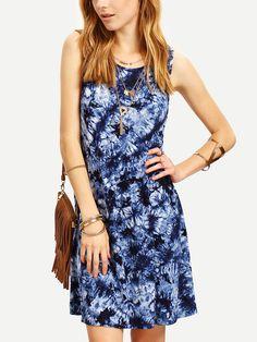 Vestido sin manga estampado holgado -multicolor-Spanish SheIn(Sheinside)