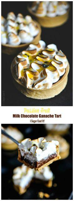 Satisfy your sweet, tart and chocolate cravings with Milk Chocolate Passion Fruit Ganache Tarts http://www.isugarcoatit.com/2016/06/milk-chocolate-passion-fruit-ganache-tarts.html/