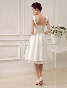 Ivory V-Neck Backless Pleated Satin Short Wedding Dress-No.4