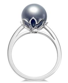 Pearl Radient 10mm June Birthstone Cultured Tahitian Black Pearl Ring In Silver Or Gold