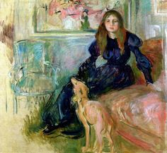 Berthe Morisot - Girl with Grayhound, 1893 (Musee Marmottan Monet - Paris France) at Museo Thyssen-Bornemisza Madrid Spain