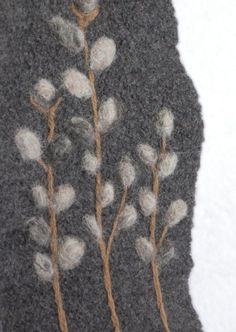 Winter ~ Pussy Willow ~ Needle-Felted Scarf ~ Wool