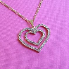 Double Hearts Charm Pendant 14k Gold Platted with White CZ Stones