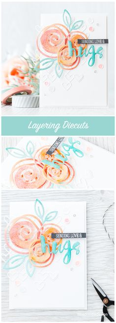 Layering die cuts to give lots of interest and dimension. Find out more by clicking on the following link: http://limedoodledesign.com/2015/12/layering-diecuts/ card flower hug