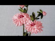 Ribbon Embroidery Flower by Hand | Beautiful ribbon work | HandiWorks #49 - YouTube