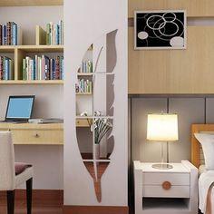 ER Pluma Vestidores Pegatinas Espejo Espejo De Acrílico Pegatinas 3D Estereoscópica Baño Entrada De Plata Decorativo