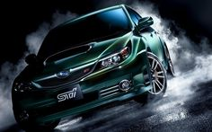 Green Subaru Impreza WRX Smoke Wallpaper - http://www.gbwallpapers.com/green-subaru-impreza-wrx-smoke-wallpaper/ (Green, Impreza, Smoke, Subaru, Wallpaper, WRX / Cars)