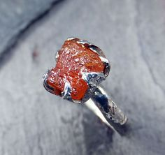 Raw Imperial Topaz Ring  Rough Uncut Orange Gemstone Ring Imperial Topaz Crystal Sterling Silver recycled Size 6 3/4