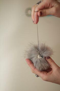 DIY recycled fur pom pom