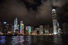 A boats view of the Hong Kong waterfront at night. Hong Kong, China. anntardiffphotography.blogspot.com