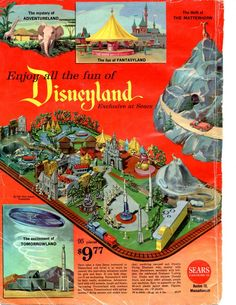 Page with plastic Disneyland toy model set from the 1961 Sears Christmas Catalog. by loretta Old Disney, Disney Toys, Disney Fun, Disney Magic, Disney Parks, Disney Movies, Disney Travel, Disney Theme, Disney Stuff