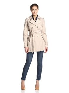 Jessica Simpson Women's Lace Detail Trench Coat (Stone)