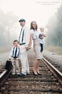 Try a themed wardrobe for a cohesive family photo look. How cute are kids in ties and suspenders?