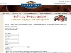 Enter the Ghirardelli Chocolate 2014 Holiday Sweepstakes for a chance to win a Festive Greetings Basket, a Holiday Spectacular Basket, and Gift Bags worth $250!