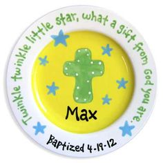 Little Worm Ceramic Plates Cross and Stars Boy – Yellow are very helpful to keep the child very happy and for developing an imaginative mind. This plate has very impressive color scheme which is considerably relaxing to the eyes. The objects shown in the Painted Ceramic Plates, Hand Painted Ceramics, Ceramic Painting, Baby Baptism Gifts, Christening Gifts, Baby Dedication, Communion Gifts, Blue Plates, Christian Gifts