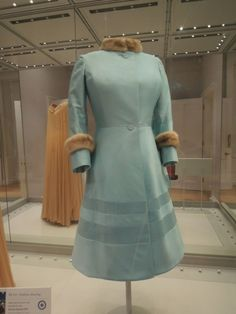 Silk dress and hat with fur trim, Norman Hartnell, 1972. The Queen wore this to her Silver Wedding anniversary at Westminster Abbey