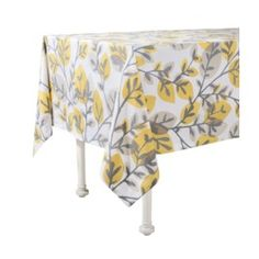 """Room Essentials® Leaf Print Rectangle Tablecloth - Yellow (84""""x60"""")  Make curtains out if these tablecloths?"""