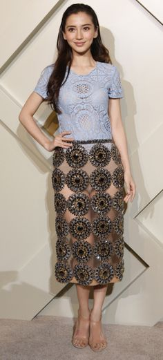 Chinese actress Angelababy wearing a Burberry gem-embellished skirt on the red carpet at the Burberry London in Shanghai event on 24 April 2014