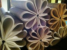 book flowers....to decorate a reading nook or create mobiles to hang from the ceiling