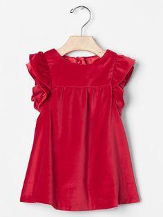 Red velvet flutter dress Product Image