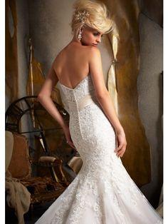 Trumpet/Mermaid Strapless Sweetheart Lace Wedding Dress