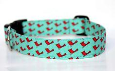 Dog Collar - Red Birds - Red and Aqua Dog Collar, Woodland Cardinals. $17.00, via Etsy.