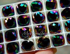 Swarovski Rainbow Dark, Cushion Cut 4470, Swarovski Crystal 10mm With Prong Setting, Crystal Sew On, Craft Supplies Jewelry Making