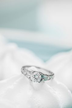 Another beautiful photo from our photo shoot with Premier Love. This diamond ring is hand-forged in 19K white gold and has open gold work on the shoulder of the shank.